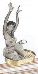 packed into that dress (kurberry) Tags: collage dancer sardine exoticdancer cutpaste cutandpaste vintageephemera collageaday