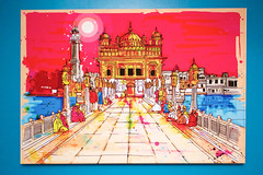 Inkquisitive :: Golden Temple (cchana) Tags: pink blue india art yellow religious temple graffiti sketch worship turquoise indian religion holy sikh goldentemple inkquisitive