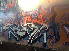 PUKER vans (beengraffin) Tags: blue orange white black graffiti sandiego over fast went stamp crew vans piece puke quicky hek dissed hec diss krew quickie gcr pukes vanz puker puek