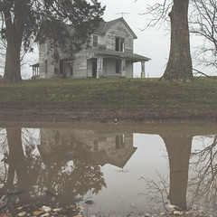 (Rodney Harvey) Tags: house reflection abandoned rural puddle decay missouri