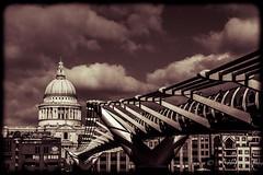St Paul's along the Millennium bridge. (Split tone) (Sasquatchpics) Tags: longexposure bridge london thames river millennium stpaulscathedral canon6d