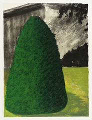 Ivor Abrahams  Suburban Shrub I (Dawn) & II (Dusk), 1972. Printmaking: lithograph on paper, 83.1 x 63 cm. Tate London. These two prints depict a large green shrub or tree in an area of lawn in front of a building facade. Neither the building nor the shru (ArtAppreciated) Tags: art history nature modern century painting landscape outdoors dawn day tate dusk fineart blogs printmaking times 1970s shrubs 20th scapes commentary lithograph ivor abrahams artblogs tumblr artoftheday artofdarkness artappreciated artofdarknessco artofdarknessblog