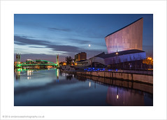 Imperial War Museum North at the Quays (andyrousephotography) Tags: morning bridge moon water clouds sunrise dawn early still salfordquays bluehour lowry imperialwarmuseumnorth iwm