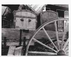 Wagon (melody_hoover) Tags: old blackandwhite usa film vintage blackwhite dusk antique nevada rustic naturallight historic nv genoa transportation bwfp