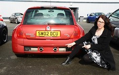 Carmen & Renault V6 (Fast an' Bulbous) Tags: santa england woman hot sexy girl car hair glasses pod nikon automobile long dress boots gimp vehicle brunette leggings sundayservice pistonheads d7100