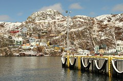 After the Snow (Karen_Chappell) Tags: blue winter white snow seascape canada yellow newfoundland landscape dock scenery harbour scenic stjohns atlantic wharf signalhill nfld thebattery atlanticcanada avalonpeninsula