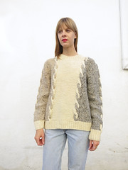 Stylish cabled knitwear Lady (Mytwist) Tags: california winter woman usa sexy classic fashion lady female fetish us warm fuzzy cream ivory handknit craft style retro cables passion jumper knitted timeless pullover handcraft slave laine handknitted sweatergirl knitwear cabled woolfetish aransweater handgestrickt fairseason aranstyle