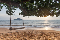 Swing and Island at Ao Yang Beach (Chanthaburi) (baddoguy) Tags: sunset sea seascape tree tourism beach horizontal thailand outdoors island photography horizon tranquility nopeople swing tranquilscene traveldestinations colorimage famousplace locallandmark beautyinnature horizonoverwater