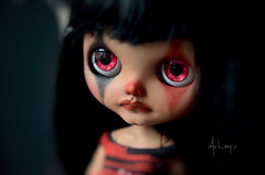 Sombre (Art_emis) Tags: red sky black hair photography carved doll long hand sad dress handmade heather ooak painted clown teeth crochet bodice blythe mold bangs prima custom dolly artemis somber tanned rbl alteres reshaped