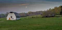 Sun Rise, Moon Set and Barn (cmayart88) Tags: moon mountain green heritage abandoned field grass barn sunrise ga ruins national arabia area moonset arabiamountain fiull arabiamountainnationalheritagearea