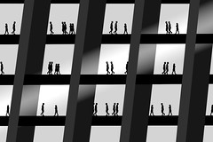 Nine-to-Five (Danny Shrode) Tags: blackandwhite silhouette work office tedium monochrome abstract whitebackground elitegalleryaoi bestcapturesaoi