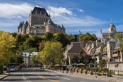Chteau Frontenac Dominating Qubec (Aymeric Gouin) Tags: voyage street city travel autumn light urban canada building castle fall architecture automne cityscape olympus qubec lumiere northamerica chateau rue ville omd frontenac urbain qubeccity em10 aymgo aymericgouin
