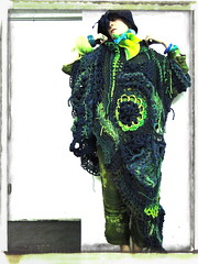 Maybe That Is enough, For now... (MizzieMorawez) Tags: blue green fashion yellow lady knitting power crochet dramatic trendy fridakahlo samurai chic freeform extravagant materiality boldness mizzie lagenlook patterncrochet mizzimorawez morawez signaturecoat