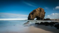 Monolithus (marcolemos71) Tags: longexposure sea santacruz seascape beach portugal water clouds rocks waves stones atlanticocean costaoeste penedodoguincho