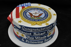 Military retirement cake (jennywenny) Tags: cake gold flag military navy retirement