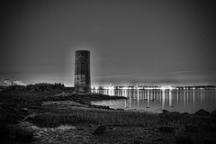 Old Photo - Heavy Edit (Silverio Photography) Tags: ocean longexposure blackandwhite lighthouse abandoned boston night photoshop canon dark harbor lowlight newengland elements topaz adjust massachuetts squantum