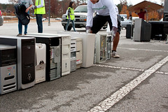 Old Computers Are Stacked At Recycling Day Event (cemprebr) Tags: old green broken computer junk parkinglot recycled pavement conservation environmental row stack event teen volunteering pile electronics worn harddrive stacking discarded recycling sustainability obsolete oldtechnology thrownout