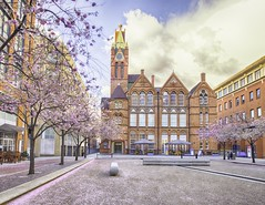 Ikon Gallery, Birmingham (chasingthe_stars) Tags: city uk pink sunset flower colour tree art architecture modern clouds canon buildings birmingham pretty gallery bright blossom pastel cherryblossom colourful circularpolarizer brindleyplace leadinglines ikongallery leefilters oozellssquare canon6d