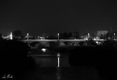 Puente sobre el Guadalquivir (lumior) Tags: espaa blancoynegro puente andaluca arquitectura colores pasarela nocturnas crdoba viajar viaducto pontn horadelda