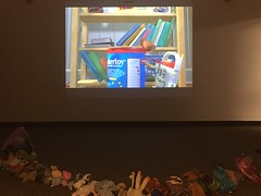 Wow! We picked out a good movie! (scotchplainspubliclibrary) Tags: animal stuffed sleepover scotchplains scotchplainspubliclibrary