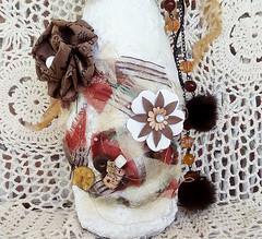 Earthy and Mettalics Altered Art Bottle (Jazzie Menagerie) Tags: art altered bottle winebottle rhinestones paperflowers jazzie bronzecopper alteredbottle naturalfur jazziemenageriejustforyou