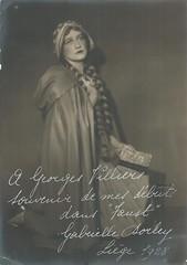 BARITONE RENE LITS: COLLECTION OF STAGE JEWELRY AN OPERATIC MEMORABILIA, SOPRANO GABRIELLE DORLEY, MARGUERITE, FAUST TO GEORGES VILLIER, THEATRE ROYAL DE LIEGE, 1928 (Operabilia) Tags: opera autograph marguerite soprano faust gounod georgesvillier claudepperna goldenagememorabilia claudepascalperna renlits gabrielledorley