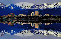 Reflections from downtown Anchorage, Alaska, U.S.A. (Lago Tanganyika) Tags: city usa mountains reflection building alaska architecture skyscraper downtown cityscape realestate anchorage jorge highrise citycenter molina centralbusinessdistrict nikond3200 thelastfrontier jorgemolina