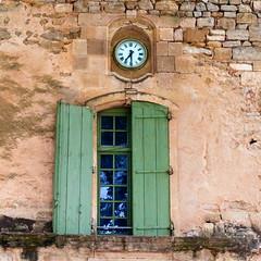 Languedoc Window (Bruce Poole) Tags: windows france green clock window canon ventana la europe fenster vert historic september ventanas porthole shutters portal languedoc fenetre vitres lafrance monastry vitre fenetres montre finestre greenshutters languedocrousillon antiquite  anticando brucepoole 2013brucepoole2013 villeveryac