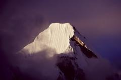 Lingtren (robertdownie) Tags: china blue nepal light sky mountain film clouds purple peak slide tibet velvia summit himalaya everest himal lingtren mahalangur