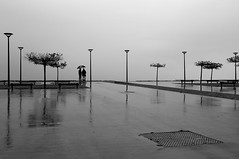 In the humors of the ocean (pascalcolin1) Tags: mer france reflection rain noiretblanc pluie reflets streetview capferret photoderue blackandwithe urbanarte photopascalcolin