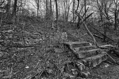 Forgotten Stairs (CJ Schmit) Tags: trees urban blackandwhite bw nature monochrome wall wisconsin stairs canon concrete outdoors spring rocks stones branches overcast dirt trail forgotten milwaukee wilderness remains walkingpath mke milwaukeeriver canonef1740mmf40lusm rivercolony canon5dmarkiii cjschmit 5dmarkiii wwwcjschmitcom niksilverefex2 cjschmitphotography milwaukeerivercolony