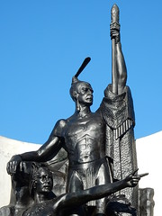 Black Strength (mikecogh) Tags: history monument statue wellington warrior strong strength maori pointing