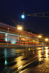 On You Mark, Get Set, GO (flashpoint-70) Tags: city nightphotography blur trafficlights color reflection rain nikon novascotia lighttrails puddles dartmouth d300