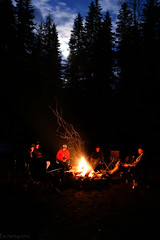 Campfire under moonlight - Redux (Explored No.94, 26-Apr-2016) (Patstirling) Tags: trip travel blue camping trees friends camp sky orange moon canada night clouds fire 24105mmf4l honeymoon earth explore bonfire alberta crowsnest wife sparks fav25 canon6d