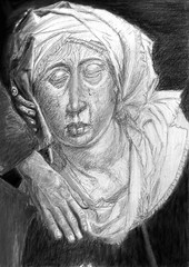 mater dolorosa (geoffreyrbryan) Tags: monochrome pencil study scanned graphite digitalpaint