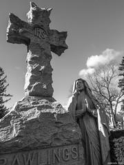 Calvary Cemetery (Gabrielle Gaia) Tags: blackandwhite sculpture cemetery grave graveyard statue illinois catholic cross tombstone il gravestone springfield virginmary calvarycemetery catholiccemetery