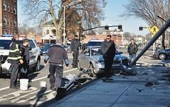 Happening right now on my street (Mycophagia) Tags: random crash accident lol busstop providence mystreet caraccident baddriver elmwoodavenue