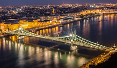Liberty bridge (Vagelis Pikoulas) Tags: city bridge blue winter canon river landscape liberty europe hungary cityscape budapest january tokina hour 6d 2016 1628mm