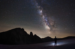 Alone With the Universe (a galaxy far, far away...) Tags: nightphotography nightscape autoscatto selftimer milkyway selfie universo valgesso vialattea collefremamorta