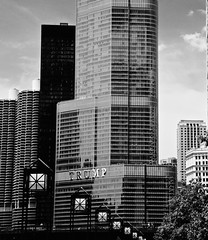 Trump Tower From the Riverwalk - Chicago IL (Meridith112) Tags: summer blackandwhite bw chicago building june skyline architecture mono nikon flickr trumptower trump marinatowers riverwalk cookcounty flickrmeetup potus skyscrapper 2015 nikon2485 6282015 nikond610