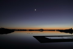 Moon and Venus (blachswan) Tags: moon water reflections dawn venus australia victoria planets ballarat mercu lakewendouree planetalignment dawnreflections