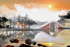 K2X_3272 錦帶橋 Moon bridge (愚夫.chan) Tags: lake reflection taiwan 臺灣 大湖公園 taipeicity 台北市 moonbridge 路燈 湖 湖泊 樹木 倒影 內湖區 錦帶橋 平靜 影像合成 dahupark