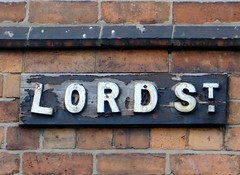 LORD STREET (d p hughes) Tags: england urban signs colour outside woodwork cheshire streetscene crewe calligraphy