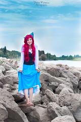 I have feet! (Dahlia.Fortescue) Tags: dahlia red water argentina girl beautiful beauty smile river costume rocks dress cross photoshoot princess little cosplay maria cristina disney yuki movies mermaid neuquen fortescue storoz