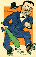 Theodore Roosevelt and the Roller Skate Craze (Alan Mays) Tags: old blue orange chicago men green vintage paper typography glasses illinois clothing sticks funny humorous comic antique politics skating humor hats rollerskates illustrations roosevelt il ephemera clothes ill politicians postcards moustaches type clubs amusing eyeglasses fonts spectacles printed presidents skates carry borders rollerskating carrying 1908 1900s typefaces teddyroosevelt theodoreroosevelt fads bigsticks crazes pincenez politicalcandidates uniquestudio cbridge postcardpublishers rollerskatecraze rollerskatingcraze