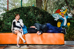Woody (sintualex) Tags: sleeping orlando funny eyecontact expression candid streetphotography gesture universalstudios ricohgr woodywoodpecker replichrome