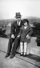 With dad on her sixth birthday, March 17, 1936, in Omaha Nebraska (trphotoguy) Tags: portrait 1936 1930s fatheranddaughter oldfamilyphotos oldfamilyphoto