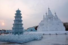ice pagoda & snow castle (stevie0020) Tags: china travel light sculpture white snow cold castle ice pagoda expo famous north exhibition east harbin 2016 sunisland stevie0020