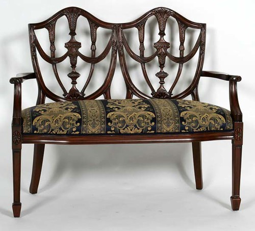 Chippendale Style Shield Back Settee - $308.00