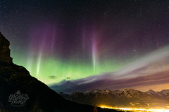 Aurora over Canmore (Matthew Hicks Photography) Tags: longexposure nightphotography mountain canada mountains night aurora banff rockymountains canmore auroraborealis canadianrockies canadianrockymountains canadianaurora